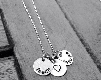 Sterling Silver Teachers Necklace, Teach, Love, Inspire