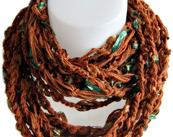 infinity scarf, chain scarf, handmade, crochet, copper brown, soft wool, circle scarf, lady gift, warm color