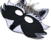 Raccoon Felt Fur Mask, Woodland Animal Mask, Animal Birthday Party Favor, Children's Halloween Costume, Adult Mask, Adult Costume