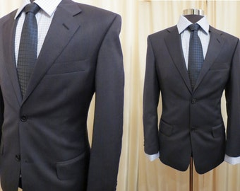 Vintage Berkeley Made in Australia Wool Space Grey and Navy Blue Pinstripe Men's Jacket Blazer