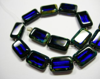 Czech Glass Cobalt Blue Travertine Rectangles 8x12mm - 15 beads