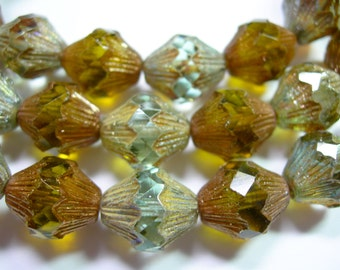 15 14x12mm Czech Glass Faceted Baroque Bicone Beads - Aqua and Smoky Topaz