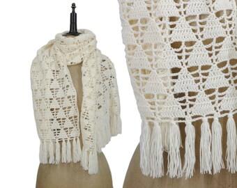 Ivory Open Knit LARGE Triangle Pattern Fringe Scarf