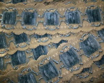1 yd. of Antique blue chenille and ivory bisque trimming