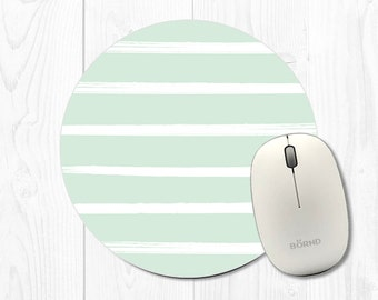 Striped Mint Green Mousepad - Mint Mouse Pad - Mousepad with Stripes