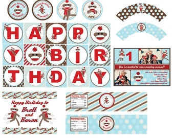 Sock Monkey Party Printables - DIY - Custom Party Package - Personalized Inviation Included