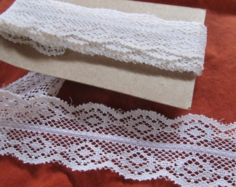 LACE scalloped ivory-- over 3 1/2 yards (128 inches)