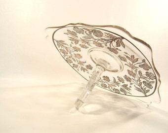 Vintage Silver Overlay Clear Glass Dessert Dish   Tid Bit Server  Center Handle