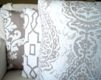 Decorative Throw Pillow Covers, Cushion Covers, Taupe Ecru Damask Geometric Berlin Bordeaux Manchester Couch, Set of Three Various Sizes