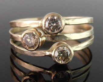 Moissanite or Diamond and 14k Gold Three Stone Stack Look Ring, Three Stone Ring, Mother's Ring, 14k Gold Ring, Alternative Engagement Ring
