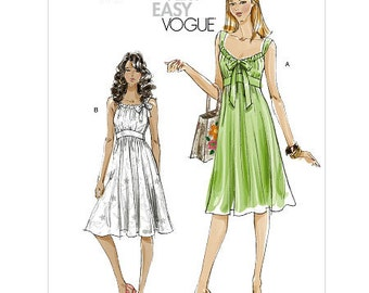 Sz 4/6/8/10 Vogue Dress Pattern V8380  - Misses' Dress in Two Variations - Very Easy Vogue