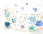 Sea Glass Bracelet Silver Cuff Coastal Beach Wedding Wire Knit Jewelry Nautical Mermaid blue aqua teal jade