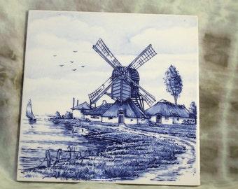 Delft Windmill Sailboat Coastal Tile Glossy Maybe Bosman