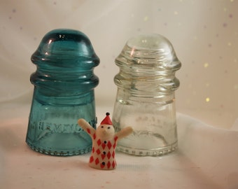 2 Electrical insulators Hemingray-9 Clear and Blue Industrial Art