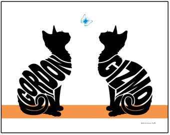 Personalized Pair of Cats Print, Name Art of 2 Cats, Gift for Cat Lover, Custom Cat Silhouette Art