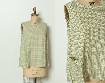 vintage 1950s maternity top with floral grid pattern