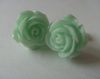 Vintage style, Rose, studs, earrings, Romantic, mint green, soft green, roses, by NewellsJewels on etsy