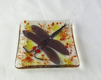Dragonfly Fused Glass Dish