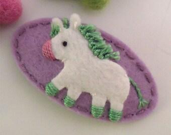 Felt hair clip -No slip -Wool felt -Donkey -lilac