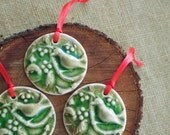 Partridge in Green Crackle Porcelain Christmas Ornament, Mrs Peterson Pottery