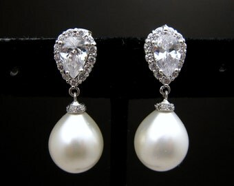 wedding bridal teardrop white shell pearl earrings with cubic zirconia deco teardrop post- Free US Shipping