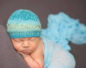 Knit Baby Hat, Butterfly Beanie Hat, newborn photo prop by Cream of the Prop