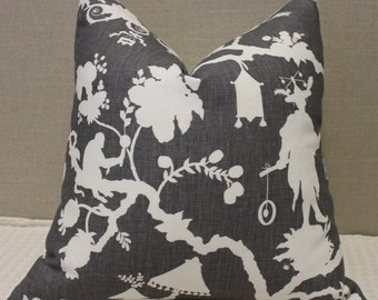 "SALE - Schumacher Shantung Silhouette Print in Smoke - 20""X20"" - Pattern on the front"