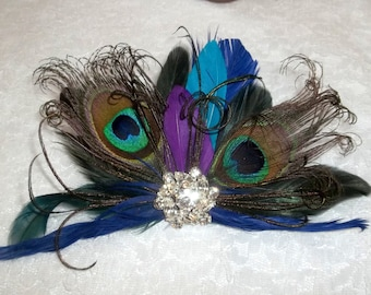 Wedding Fascinator, Wedding Hair Clip, Peacock Fascinator, Blue Purple Green Teal Turquoise, Feather Hair Clip, Bridal Hair Comb