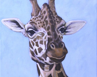 Giraffe Painting - Giraffe Portrait - African Animal Art - 12x12 Original Wildlife Art - Zoo Animal Painting
