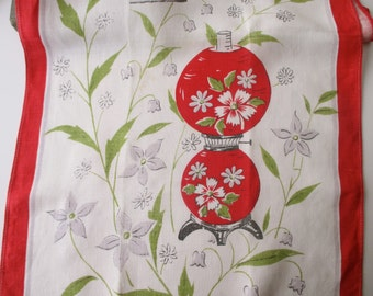 Vintage LINEN DISH TOWEL - flowers, red, white, antique lamps