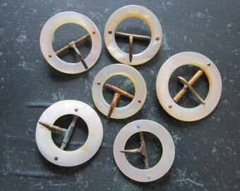 6 vintage MOP buckles - brass prongs - round, metal prong, 1.25 to 1.75 inches