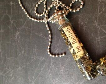 Be Foolish Clockwork Clutter Glass Bottle Steampunk Necklace