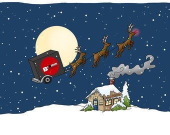 Illustrated Christmas Card, HOLIDAY - Custom Illustration - For your Business, Holiday Cards, Christmas Cards