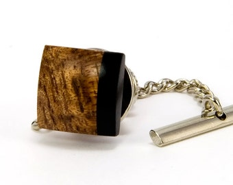 Hawaiian Koa Ebony Tie Tack – Wooden Tie Pin - Wood tie tack - Unique Gift Idea for Fathers Day, Anniversary, Graduation, Wedding