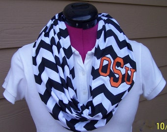 Oklahoma State Black and White Monogrammed Chevron Infinity Scarf Jersey Knit
