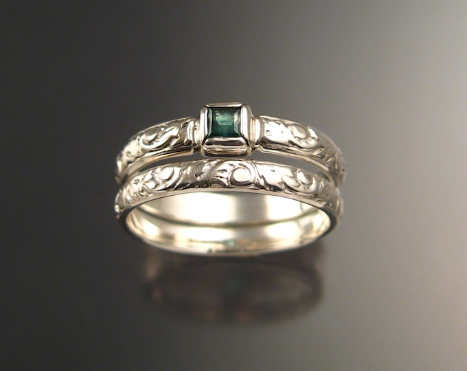 Emerald square Natural Colombian Emerald Wedding set Sterling Silver Victorian bezel set ring made to order in your size