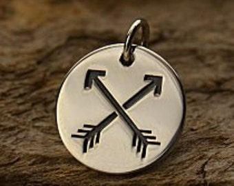 Sterling Silver Friendship Arrows Disc -  Archery, Hunter, Sportsman, Love, Friendship, Native Americans