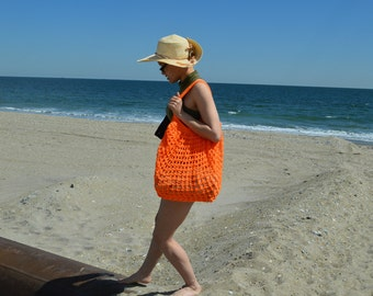 Orange Oversized Beach Bag - Crochet Knit - Market Tote - Unlined is Ready To Ship