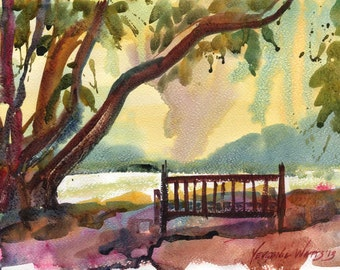 Under the Fig Tree Original Watercolor Landscape Plein Air Painting