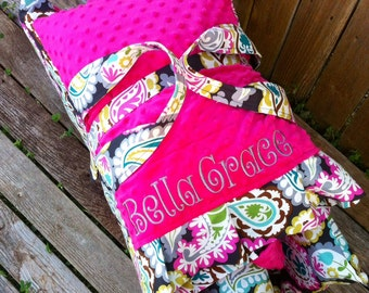 Personalized  Nap Mat cover with both attached Minky Blanket and attached Minky Pillowcase