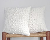 Knit Cable Pillow Cover Off White Bobbles Wool Angora Cashmere Up Cycled Sweater