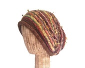 Brown Knit Slouchy Hat Rolled Brim Wool Stocking Cap
