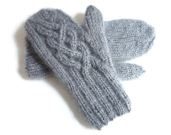 Gray Winter Mittens Knit Wool Mohair Silver Grey Womens Cable Gloves Knitted Hand Warmers Grey One Size Women's Fuzzy Mittens