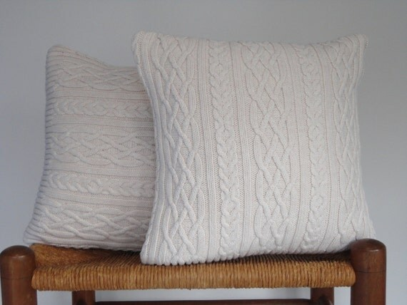 pillow cover knitted sweater off white cable by buttermilkcottage. Black Bedroom Furniture Sets. Home Design Ideas