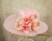 Pink Tea Party Hat - Girls Tea Party Hat With Feathers and Flowers - Girls Derby Hat