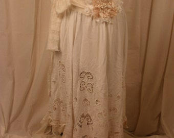 Long Cutwork Skirt and Sash with Vintage Lace Hem and Huge Rosette Her Majesty's Riding Skirt