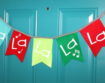 Fa La La Christmas Banner in Red Green Turquoise