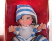 Vintage Pee Wee Doll NIB Uneeda Striped Pajamas doll - on sale