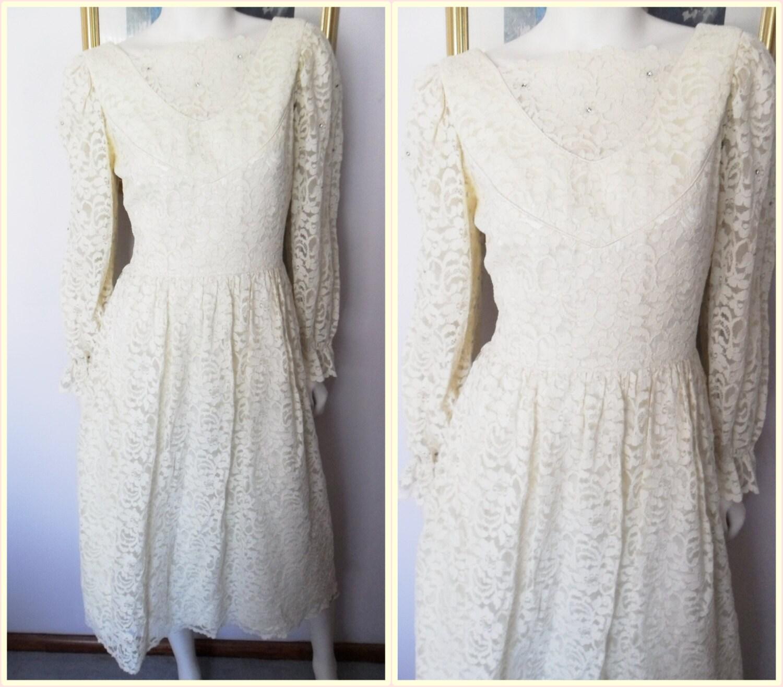 Vtg 80s Cream Lace Rhinestone Puff Long Sleeve Wedding