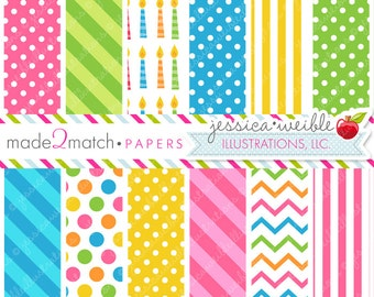 Birthday Owls Cute Digital Papers - Commercial Use OK - Pretty Digital Backgrounds for Design